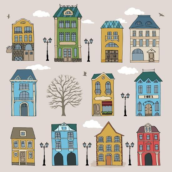 Set of Old European Houses Isolated on Vintage Background. Hand Drawn Sketch in Doodle Style. Vecto- Piranjya-Art Print