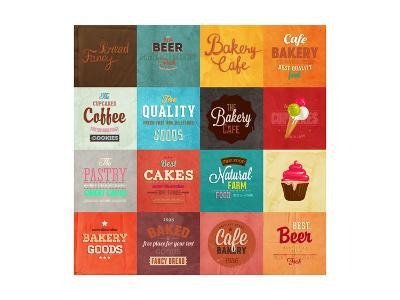 Set Of Retro Bakery Label Cards For Vintage Design, Old Paper Textures Background-Ozerina Anna-Art Print