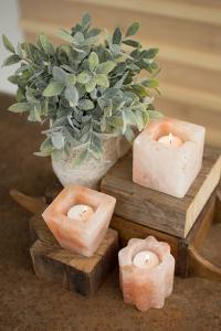 Set of Three Himilayan Salt Tea Light Holders - One Each