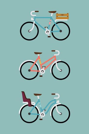 Set Of Three Modern Vector Flat Design Bicycle Icons Simple And Geometric Transport Flat Illustra Art Print By Mascha Tace Art Com