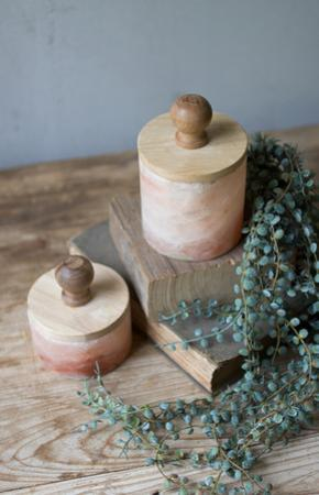 Set of Two Himalayn Salt Boxes with Wooden Lids