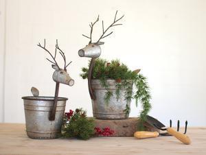 Set of Two Metal Deer Planters