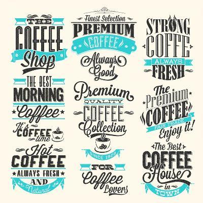 Set Of Vintage Retro Coffee Labels-Melindula-Art Print