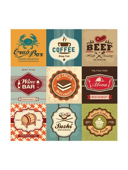 best decorative labels.htm set of vintage retro labels for food  coffee  seafood  bakery  vintage retro labels for food  coffee