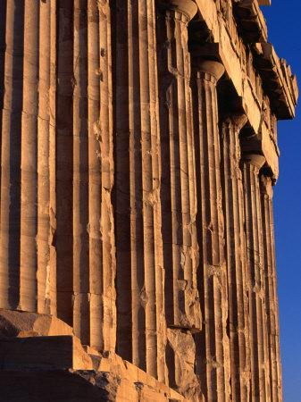 Doric Columns Line the Facade of the Parthenon at the Acropolis, Athens, Attica, Greece