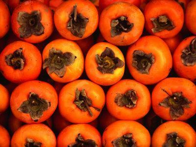 Persimmons from a Stall in the Central Market, Athens, Attica, Greece