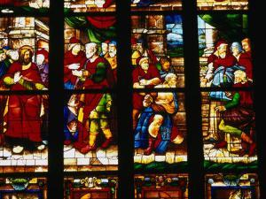 Stained-Glass Window at the Duomo, Milan, Lombardy, Italy by Setchfield Neil