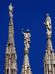 Stone Statues Stand Atop the Spires of the Duomo, Milan, Lombardy, Italy by Setchfield Neil