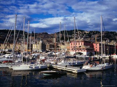 Yachts and Sailing Boats in the Historic Harbour, Genova, Liguria, Italy