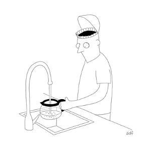 A man filling up his coffee pot, with his brain as a coffee filter. - New Yorker Cartoon by Seth Fleishman