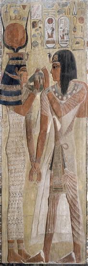 Séthi Ier et Hathor, provient de la tombe de Séthi Ier (vallée des rois)--Giclee Print