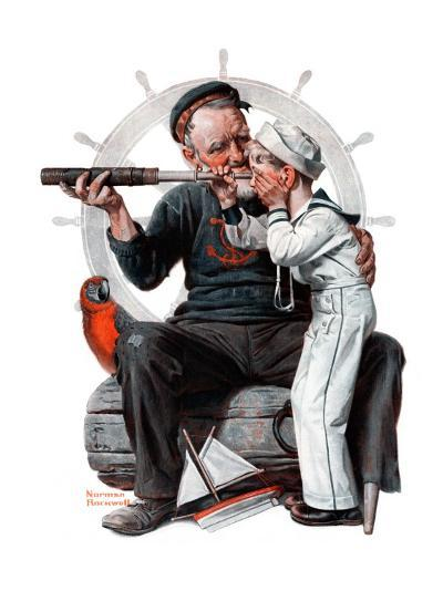 """""""Setting One's Sights"""" or """"Ship Ahoy"""", August 19,1922-Norman Rockwell-Giclee Print"""