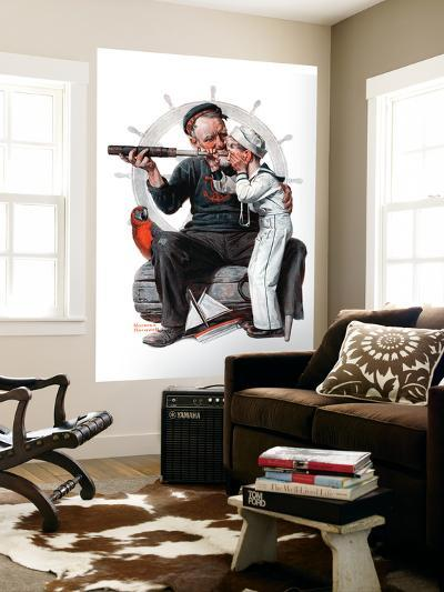 """Setting One's Sights"" or ""Ship Ahoy"", August 19,1922-Norman Rockwell-Wall Mural"