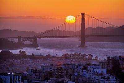 Setting Sun Behind Golden Gate Bridge, Downtown San Francisco-Vincent James-Photographic Print