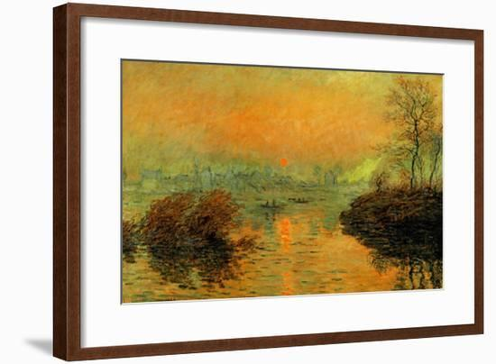 Setting Sun on the Seine at Lavacourt, Effect of Winter, 1880-Claude Monet-Framed Giclee Print