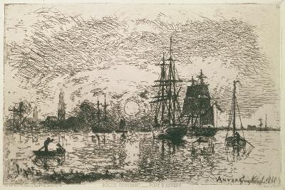 Setting Sun, the Port of Antwerp, 1868-Johan-Barthold Jongkind-Giclee Print