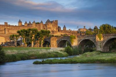 Setting Sunlight over Town of Carcassonne and River Aude, Languedoc-Roussillon, France-Brian Jannsen-Photographic Print