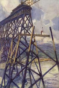 Setting the Steel of the Battle River Viaduct of the Grand Trunk Pacific Railway, Canada