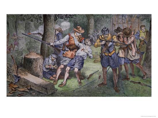 Settlement of Jamestown, Virginia in 1607-American School-Giclee Print