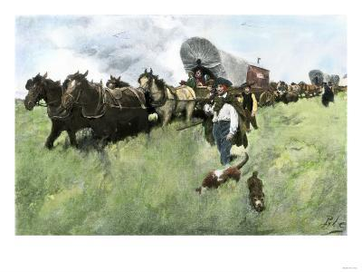 Settlers from Connecticut Entering Ohio Territory after the American Revolution--Giclee Print