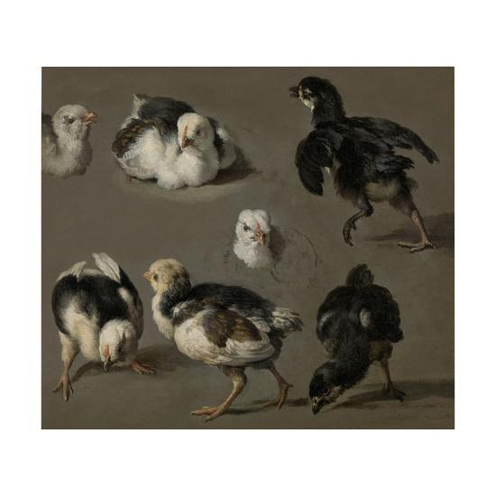 Seven Chicks-Melchior d'Hondecoeter-Art Print