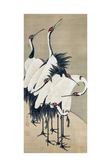 Seven Cranes-Jakuchu Ito-Giclee Print