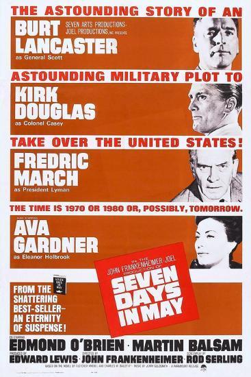 Seven Days in May, from Top: Burt Lancaster, Kirk Douglas, Fredric March, Ava Gardner, 1964--Art Print