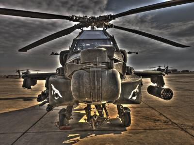 Seven Exposure HDR Image of an AH-64D Apache Helicopter as it Sits on its Pad-Stocktrek Images-Photographic Print
