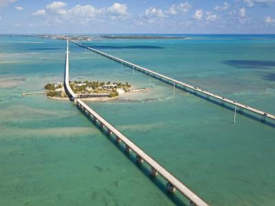 Seven Mile Bridge Crossing Pigeon Key and Connecting the Florida Keys-Mike Theiss-Photographic Print