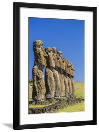 Seven Moai at Ahu Akivi, the First Restored Altar-Michael Nolan-Framed Photographic Print