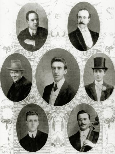Seven of the Eight Members of the Ship's Band on the Titanic, 1912--Giclee Print