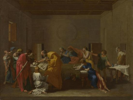 Seven Sacraments: Extreme Unction, Ca 1637-1640-Nicolas Poussin-Giclee Print