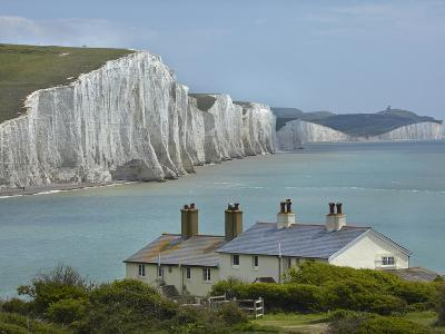 Seven Sisters Chalk Cliffs, Cuckmere Haven, Near Seaford, East Sussex, England-David Wall-Photographic Print
