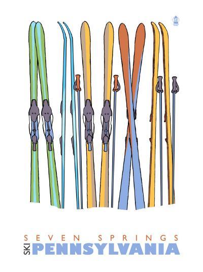 Seven Springs, Pennsylvania, Skis in the Snow-Lantern Press-Art Print