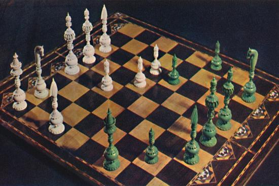 'Seventeenth-Century Ivory Chessmen and Board', 1948-Unknown-Giclee Print
