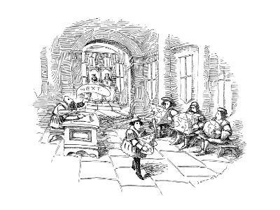 Several men sit in line at a sort of medieval patent office in a royal cou? - New Yorker Cartoon-John O'brien-Premium Giclee Print
