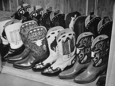 Several Pairs of Cowboy Boots from the 21 Club's Jack Kriendler's Collection-Eric Schaal-Photographic Print