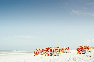 Several Sunshades and Beachchairs at Beach-Elisabeth Schmitt-Photographic Print