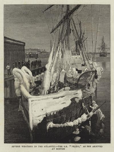 Severe Weather in the Atlantic, the Ss Pedro, as She Arrived at Boston--Giclee Print