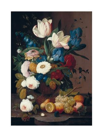 Still Life, Flowers and Fruit, 1848