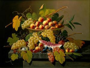 Still Life with a Basket of Fruit, 19th Century by Severin Roesen