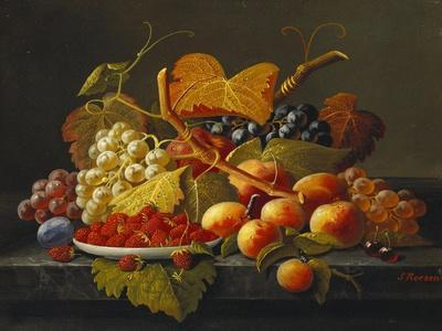 Still Life with Dish of Strawberries, Peaches and Grapes