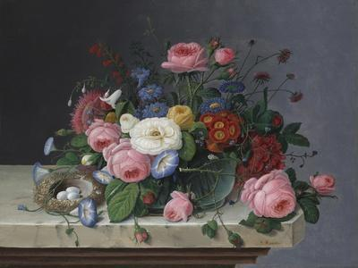 Still Life with Flowers and Bird's Nest, after 1860