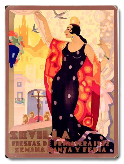 Sevilla Flamenco Dancer--Wood Sign