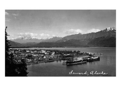 Seward, Alaska - Panoramic View of Town and Harbor-Lantern Press-Art Print