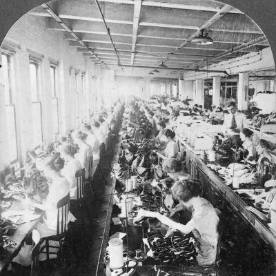 Sewing Room in a Large Shoe Factory, Syracuse, New York, USA, Early 20th Century--Photographic Print