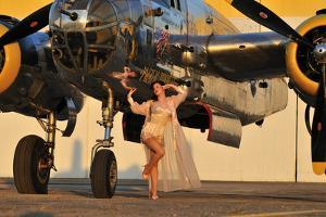 Sexy 1940's Pin-Up Girl in Lingerie Posing with a B-25 Bomber