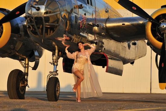 Sexy 1940's Pin-Up Girl in Lingerie Posing with a B-25 Bomber--Photographic Print