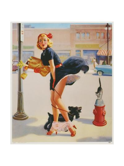 Sexy Woman Dropping Groceries--Giclee Print