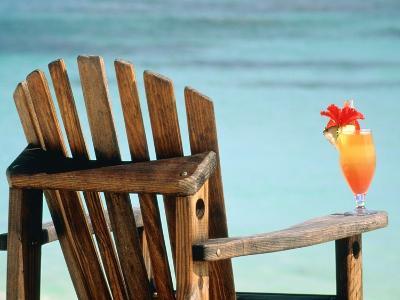 Seychelles, Denis Island, beach chair and fruit cocktail-Sergio Pitamitz-Photographic Print